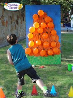 Fall Festival Activity Pop-A-Pumpkin Game - NO Darts Needed! Fall Festival Activity Pop-A-Pumpkin Game - NO Darts Needed! Theme Halloween, Halloween Party Games, Halloween Carnival, Halloween Birthday, Fall Halloween, School Carnival, Fall Festival Activities, Fall Festival Games, Halloween Festival