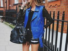 Royal blue leather.
