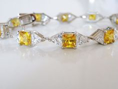 "New Canary Yellow Princess Trillion Cut Sterling Silver 925 Tennis Bracelet 7.5"" #Designer #Tennis"