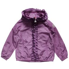 Moncler girls purple showerproof hooded 'Darma'jacket with logo on one sleeve. It has asilky soft lining andpretty grosgrainribbon frill on the hood and front.