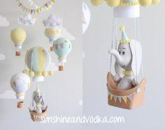 Giraffe Baby Mobile Hot Air Balloon Nursery by sunshineandvodka