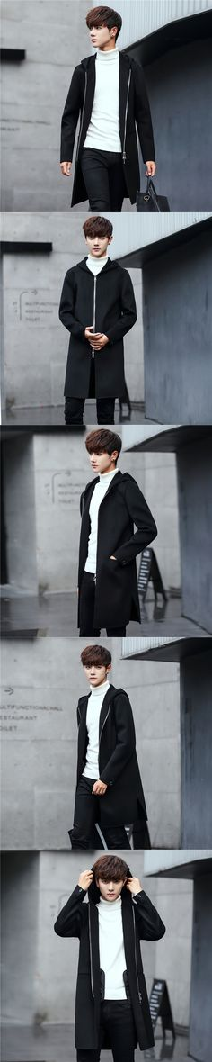 Leisure Men's Clothing 2017 Autumn New Products Pure Hand Cashmere Double Face Wool Coat Male Long Hair Coat