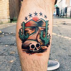 traditional skull desert tattoo - Google Search