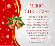 Lovely Best Christmas Messages, Wishes, Greetings And Quotes | Wordings And  Messages