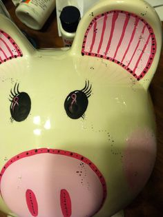 Breast cancer awareness painted pig eyes