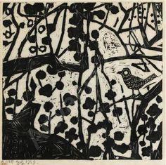 """MUNAKATA Shiko, 1903-1975 (Japan)  Title: """"BUSH WARBLER""""  Date: 1959"""