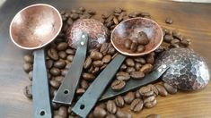 Hand forged copper coffee scoop by Cory O'Rourke