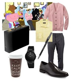 """HARVEY BIRDMAN (ATTORNEY AT LAW) (ADULT SWIMMING)"" by zazagabor ❤ liked on Polyvore featuring Valentino, Uniqlo, Kenneth Cole, Gordon Rush, Buccellati, Paper Mate and Citizen"