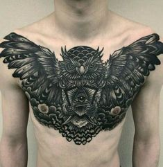 The rise of the hyper realistic tattoo is taking that ink-world into a whole new arena that only the bold are brave enough to cross. Owl Tattoo Chest, Cool Chest Tattoos, Chest Tattoos For Women, Chest Piece Tattoos, Pieces Tattoo, Badass Tattoos, Cool Tattoos, Tattoo Guys, Rib Tattoos For Guys