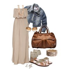 Another idea for my jean jacket. Maxi please! Beige Maxi Dress, created by uniqueimage.polyvore.com