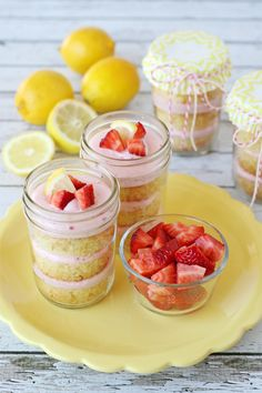 Strawberry Lemonade Cupcakes in a Jar :: Recipe by Glorious Treats via The TomKat Studio