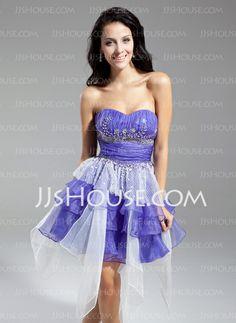 Homecoming Dresses - $128.99 - A-Line/Princess Sweetheart Knee-Length Organza Tulle Homecoming Dress With Ruffle Beading (022014966) http://jjshouse.com/A-Line-Princess-Sweetheart-Knee-Length-Organza-Tulle-Homecoming-Dress-With-Ruffle-Beading-022014966-g14966