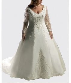 Matte Satin Long Sleeve V neck A line Plus Size Wedding Gown Decorated with Beading and Embroidered W1742