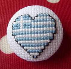 Greek Flag Heart Cross Stitch Button $5.00 #HollysHobbies