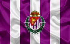 Download wallpapers Real Valladolid CF, 4k, silk texture, Spanish football club, logo, emblem, purple white flag, Segunda, Division B, LaLiga2, Valladolid, Spain, football White Flag, Sports Wallpapers, Fifa, Division, Texture, Spain Football, Spanish, Purple, Logo Emblem
