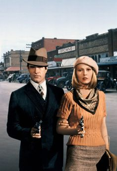 yellow short sleeved twisted-knit jumper, printed silk scarf, 30's-style heathered wool Midi skirt and wool beret - worn by Faye Dunaway in the role of Bonnie Parker