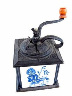 shopgoodwill.com: Vintage Coffee Grinder with Blue and White Tiles
