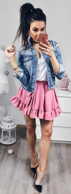 #summer #outfits Denim Jacket + White Tee + Pink Ruffle Skirt + Black Pumps 💕💕