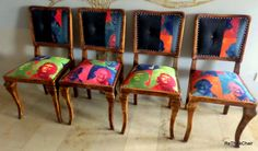 """Artdeco chair set (4 db) """"I love rethink"""" Perfect for renovations, new upholstery, new look! magnitude: 84x42x42 cm"""