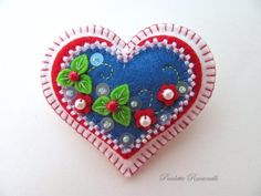 Felt Heart Pin / Reserved for Lance79 by Beedeebabee on Etsy, $25.00