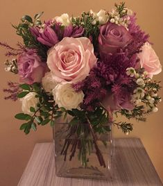 Wedding bouquet with blush lilac and pink
