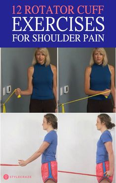 How To Reduce Shoulder Pain – 12 Best Rotator Cuff Exercises - - Do you have constant, nagging shoulder pain? For relief, start doing these gentle shoulder exercises which target the rotator cuff muscles. Rotator Cuff Injury Exercises, Shoulder Injury Exercises, Shoulder Exercises Physical Therapy, Frozen Shoulder Exercises, Shoulder Stretches, Shoulder Injuries, Shoulder Workout, Rotator Cuff Strengthening, Rotator Cuff Impingement