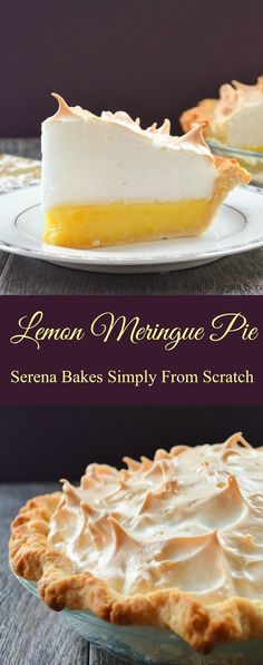 Lemon Meringue Pie with a recipe for a weep free meringue! Easy step by step instructions. Lemon Meringue Pie from scratch with an easy to make weep free meringue recipe is the best pie for dessert from Serena Bakes Simply From Scratch. Lemon Desserts, Lemon Recipes, Tart Recipes, Just Desserts, Sweet Recipes, Baking Recipes, Lemon Pie Recipe, Crust Recipe, Kitchen Recipes