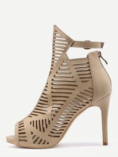 Brown Peep Toe Buckle Strap High Heels