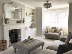 home living room decor New Living Room, Living Room Sets, Home And Living, Living Room Designs, Cosy Living Room Grey, Living Room Decor Ideas Grey, Alcove Ideas Living Room, Corner Sofa Living Room, Grey Corner Sofa