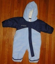 613f6b09 Columbia Baby Boys Blue Fleece Hoodie Bunting Snowsuit Size 6 Months HARDLY  WORN #Columbia #