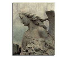 Gothic Stone Angel Fine Art Goth Photograph Aged Art