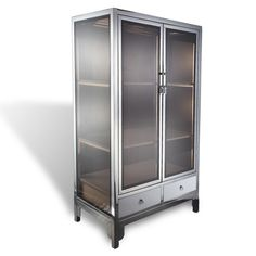 Hand worked stainless cabinet with glass inserts is based on classical Chinese design. Antique Chinese Furniture, Chinese Design, Cupboards, Cabinet Hardware, Messing, Shelving, Locker Storage, Bookcase, Material