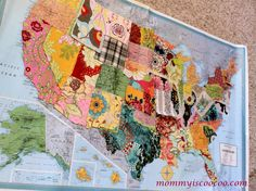 Fabric scrap USA map Tutorial here Crafts Pinterest Fabric