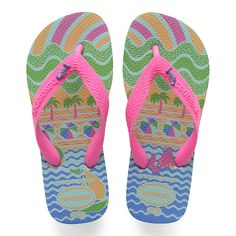 96aee0ae97f2a Havaianas Kids Fantasy Flip Flop Ice Blue Ice blue tropical print flip flop  with hot pink