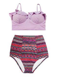 4ee2788edb7f4 Violet Lavender Lilac top and Burgundy Vintage Retro High Waist Waisted  Shorts Bottom Bikini Swimsuit Swimwear