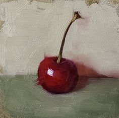 Small Original Oil Painting Red Cherry 4 x by CynthiaHaaseFineArt, $40.00