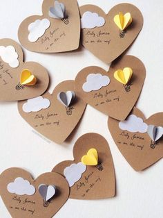 Heart Hot Air Balloon Gift Tags by theadoration on Etsy These adorable gift tags are the perfect cherry topping to any gift. With your purchase, you will receive: ~ 12 small heart tags (each punched out piece measures about Diy And Crafts, Crafts For Kids, Paper Crafts, Eid Crafts, Cute Gifts, Diy Gifts, Balloon Gift, Hot Air Balloon, Handmade Tags