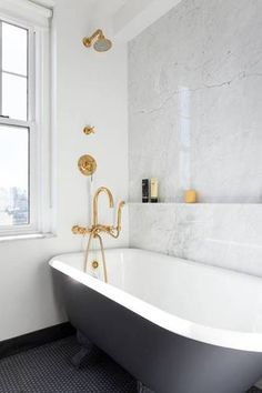 Ashe + Leandro Designers marble bathroom, gold fixtures, black and white clawfoot bathtub MEYERS NY Clawfoot Tub Bathroom, Bathroom Renos, Small Bathroom, Washroom, Bathroom Wall, Fitted Bathroom, Concrete Bathroom, White Bathrooms, Bathroom Black