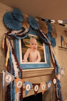 Blue and Brown Boy's 1st Birthday Party with Lots of Cute Ideas via Kara's Party Ideas KarasPartyIdeas.com #BoyParty #PartyIdeas #PartySupplies #FirstBirthday