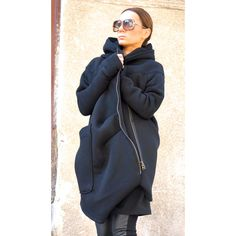 New Lined Warm Asymmetric Extravagant Black Hooded Coat Quilted Lined... (205 BGN) ❤ liked on Polyvore featuring outerwear, grey, sweatshirts and women's clothing