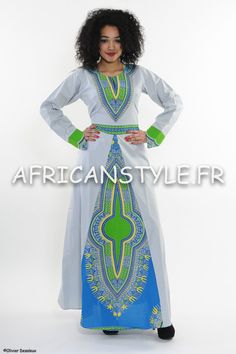 Robe évasé safire wax Addis-Abeba bleu édition by AfricanStyleAS