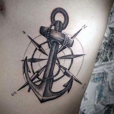 Anchor Sleeve Tattoo, Nautical Compass Tattoo, Anchor Compass Tattoo, Compass Rose Tattoo, Anchor Tattoo Design, Compass Tattoo Design, Sleeve Tattoos, Tattoo Arm, Geometric Compass