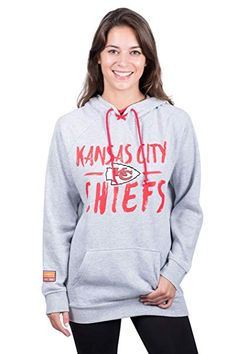 63b4bcde4 NFL Kansas City Chiefs Women s Fleece Hoodie Pullover Sweatshirt Tie Neck