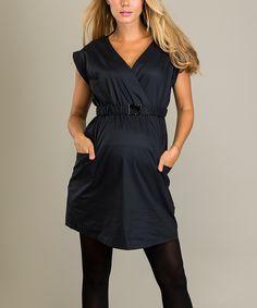 Black Maternity Surplice Dress