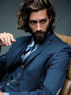 Style statement a coiffure beard, blue three piece pinstripe suit , We never give up! men's stylepinstripe suit menswear, men's fashion and style