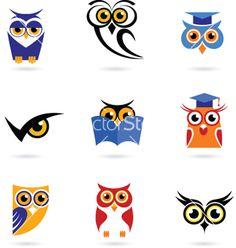 Owl icons and logos - Stock Vector , Owl Vector, Free Vector Art, Owl Artwork, Owl Clip Art, Funny Owls, Owl Illustration, Illustrations, Halloween Owl, Wise Owl