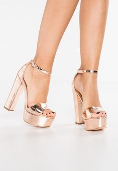 Steve Madden GONZO - High heeled sandals - rose gold metallic for with free delivery at Zalando Fancy Shoes, Gold Shoes, Me Too Shoes, Shoe Boots, Shoes Heels, Prom Heels, Platform High Heels, Fashion Heels, Womens High Heels
