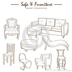 Vintage French Furniture Book Illustrations Of Chairs Beds From