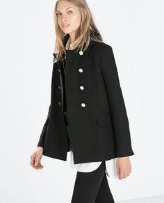 Zara Black Double Breasted Short Coat - Beautiful Wardrobe