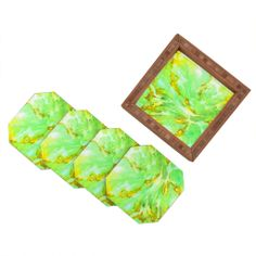 Rosie Brown Neon Sea Coral Coaster Set | DENY Designs Home Accessories#coaster #homedecor #beverage #barset #denydesigns #denyholiday #art